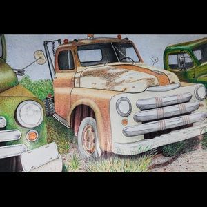 Prison Art Work Old Time Cop & Absconder Cars